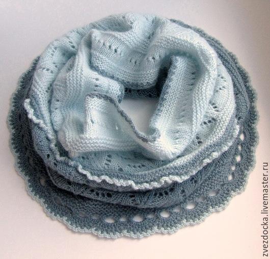 """Шали, палантины ручной работы. Ярмарка Мастеров - ручная работа. Купить шарф - снуд """"Blue opal"""". Handmade. Голубой"""