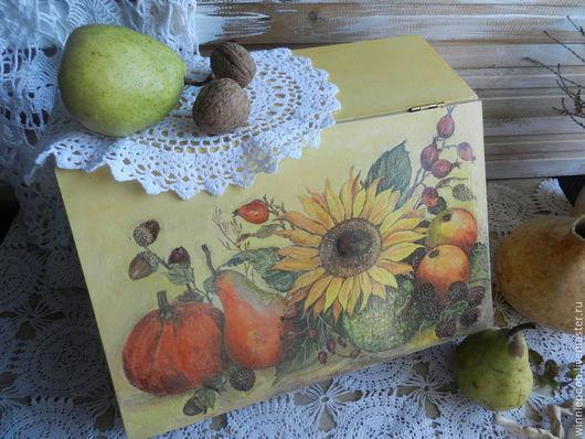 Кухня ручной работы. Ярмарка Мастеров - ручная работа. Купить Хлебница деревянная Осенний натюрморт. Handmade. Желтый, для кухни, листья
