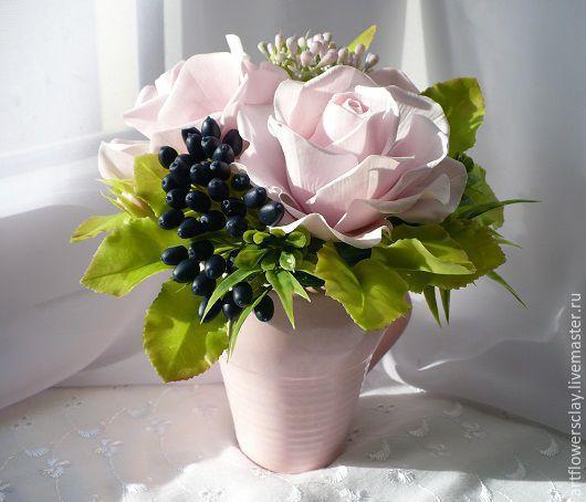 Букеты ручной работы. Ярмарка Мастеров - ручная работа. Купить Букет с ягодами вибурнума из полимерной глины. Handmade. Розовый