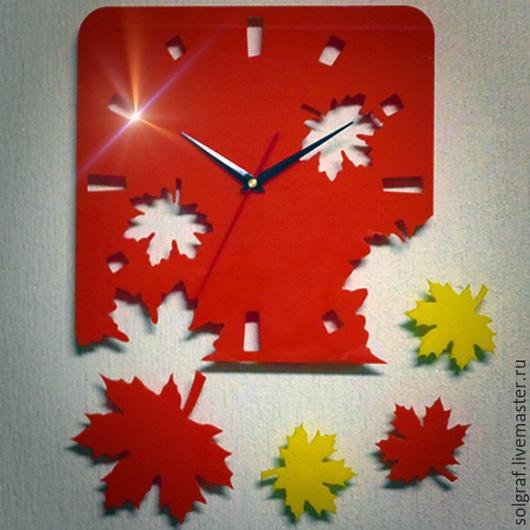 """Часы для дома ручной работы. Ярмарка Мастеров - ручная работа. Купить Настенные часы """"Осень"""". Handmade. Рыжий, часы интерьерные"""