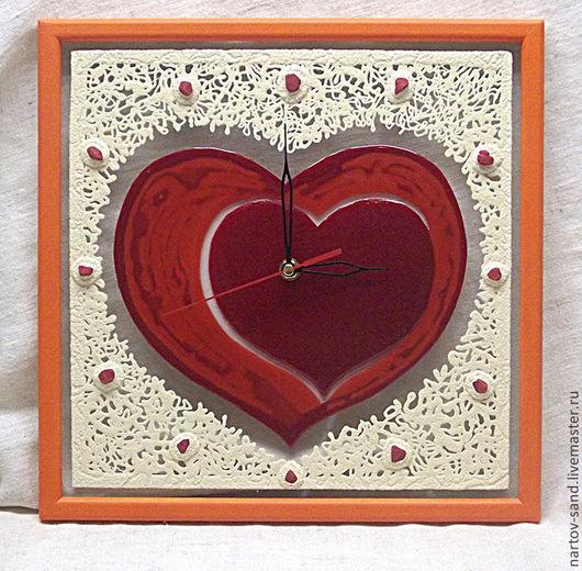 """Часы для дома ручной работы. Ярмарка Мастеров - ручная работа. Купить """"СЛАДКАЯ ЛЮБОВЬ"""" из песка часы авторские. Handmade."""