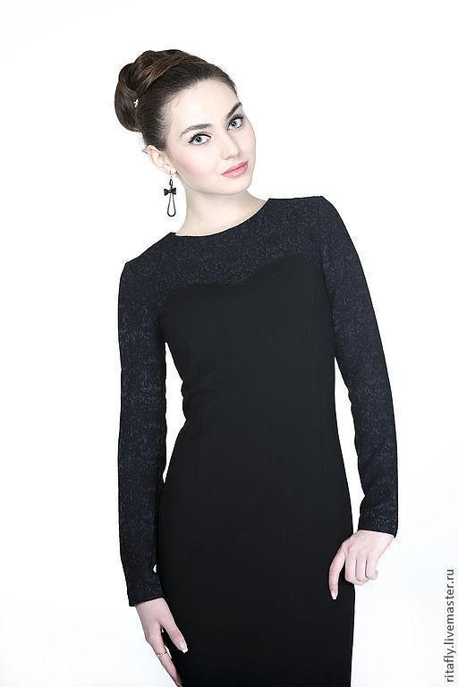 """Платья ручной работы. Ярмарка Мастеров - ручная работа. Купить Платье коктейльное """"ночь"""". Handmade. Черный, платье до колена, жаккард"""