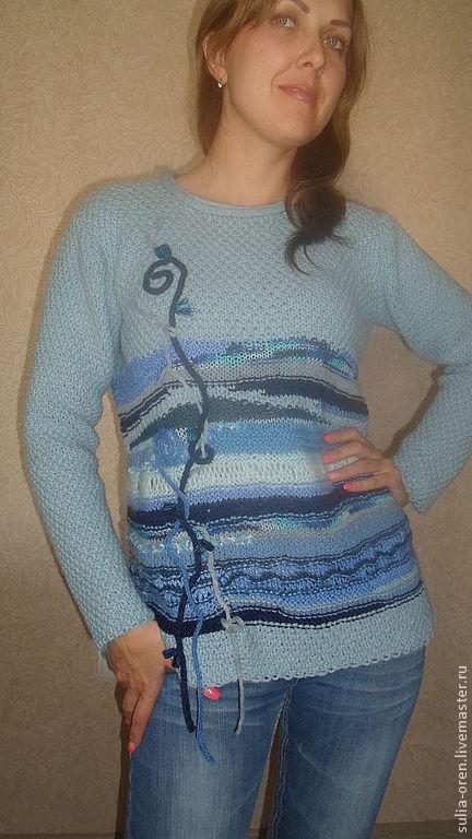 """Кофты и свитера ручной работы. Ярмарка Мастеров - ручная работа. Купить Джемпер """"Вчерашний сон о море"""". Handmade. Голубой, меринос"""