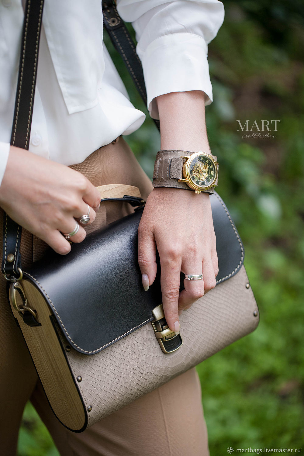Leather and wood bag, black, reptilian leather, Classic Bag, St. Petersburg,  Фото №1