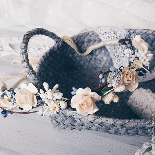 Диадемы, обручи ручной работы. Ярмарка Мастеров - ручная работа. Купить Нежный веночек из цветов. Handmade. Кремовый, цветочный, свадьба