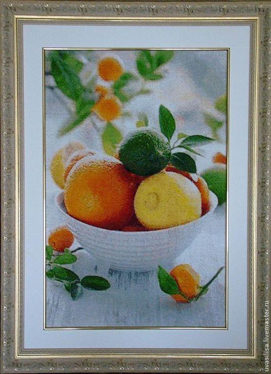 """Натюрморт ручной работы. Ярмарка Мастеров - ручная работа. Купить Вышитая картина """"Цитрусовый энерджайзер"""". Handmade. Картина, натюрморт, апельсин"""