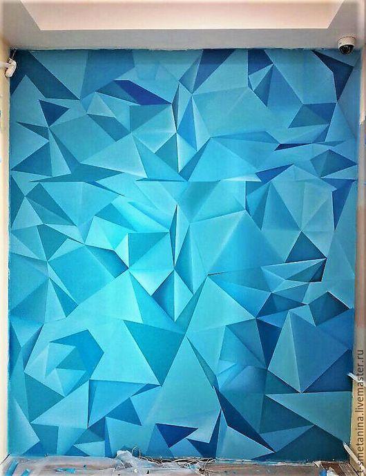 Декор поверхностей ручной работы. Ярмарка Мастеров - ручная работа. Купить Графический хаос. Handmade. Синий, графика, 3д картина