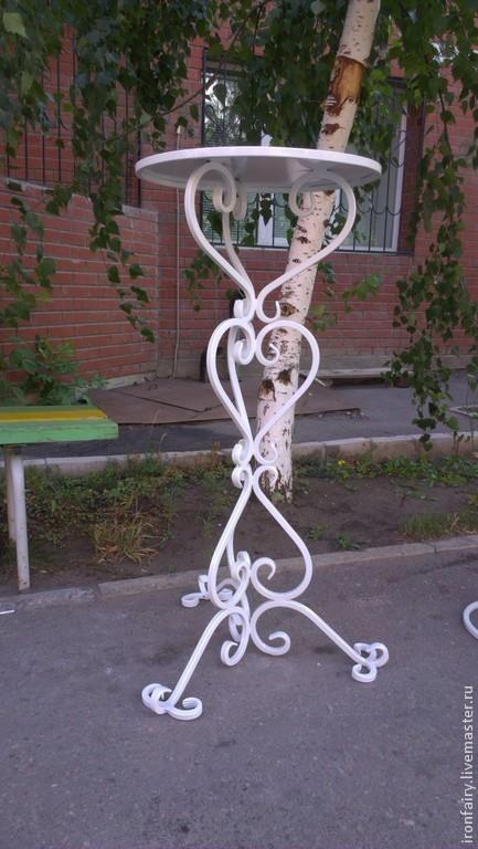 Мебель ручной работы. Ярмарка Мастеров - ручная работа. Купить Столик кованый. Handmade. Белый, дизайн, интерьер, ручная работа