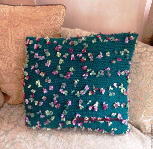 """Текстиль, ковры ручной работы. Ярмарка Мастеров - ручная работа. Купить Наволочка на диванную подушку """"Полянка"""". Handmade. Тёмно-зелёный"""