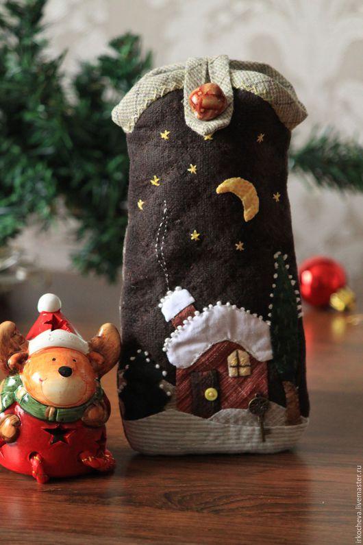 """Футляры, очечники ручной работы. Ярмарка Мастеров - ручная работа. Купить Очечник """"Зимний домик"""". Handmade. Комбинированный, пэчворк"""