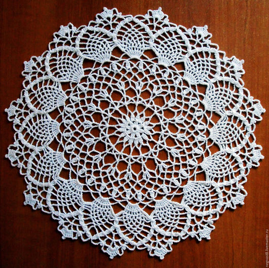 Текстиль, ковры ручной работы. Ярмарка Мастеров - ручная работа. Купить Салфетка крючком, 32 см. Handmade. Белый