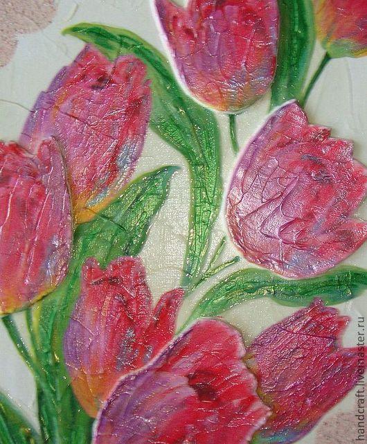 """Картины цветов ручной работы. Ярмарка Мастеров - ручная работа. Купить Картина на холсте 3D формы """"Тюльпаны"""". Handmade. Бежевый"""