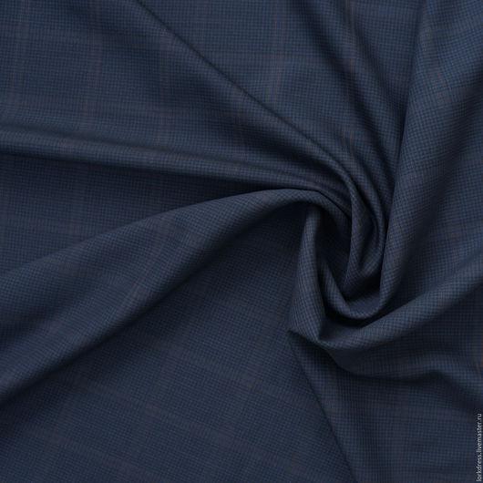 Шитье ручной работы. Ярмарка Мастеров - ручная работа. Купить Шерсть. Handmade. Тёмно-синий, клетка, ткань для шитья