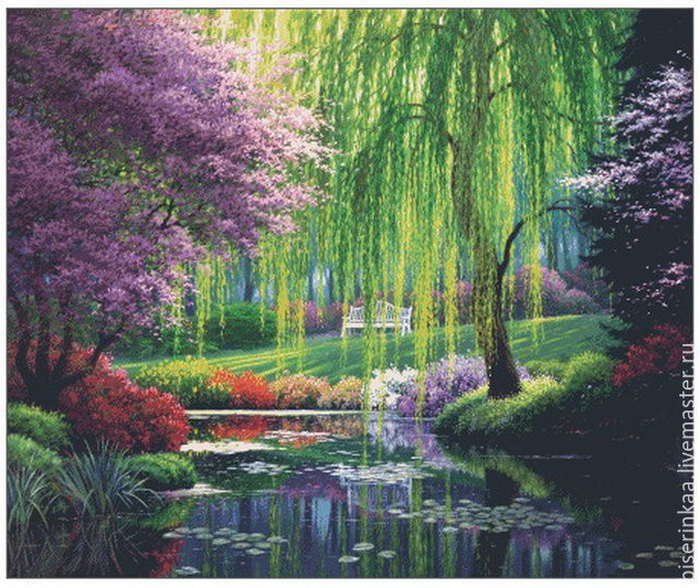 The scheme for full sewing of beads `Willow pond`