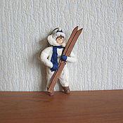 Подарки к праздникам ручной работы. Ярмарка Мастеров - ручная работа Мальчик с лыжами.Ватные елочные игрушки. Handmade.