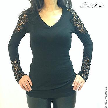 Одежда ручной работы. Ярмарка Мастеров - ручная работа Черная блузка из хлопка/Кружевная рубашка/F1150. Handmade.