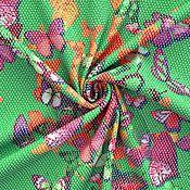 Материалы для творчества ручной работы. Ярмарка Мастеров - ручная работа Итальянский хлопок-пике с эластаном БАБОЧКИ на зеленом. Handmade.
