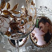 Посуда handmade. Livemaster - original item Large wine glass the Heart in the roses. Handmade.