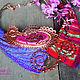 Яркое, красочное авторское украшение. Индийский огурец, пейсли. Шерсть и шелк; агат и коралл; медь и бисер. Необычное колье.