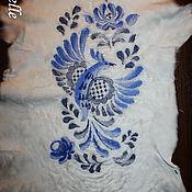Одежда ручной работы. Ярмарка Мастеров - ручная работа Вышивка на мехе Гжель. Handmade.