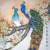 Картины и панно handmade. Livemaster - original item Watercolour Peacocks on a yellow sakura branch. Handmade.