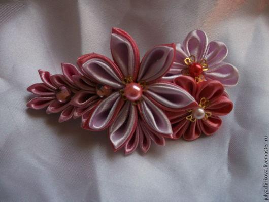 """Заколки ручной работы. Ярмарка Мастеров - ручная работа. Купить Заколка """"Розовая палитра 2"""". Handmade. Разноцветный, канзаши, для женщины"""