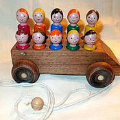 Куклы и игрушки handmade. Livemaster - original item Wooden toy car Fun bus with passengers. Handmade.