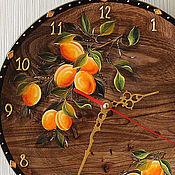 Для дома и интерьера ручной работы. Ярмарка Мастеров - ручная работа Часы с абрикосами (дерево,роспись). Handmade.