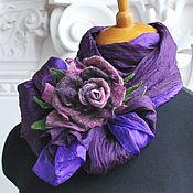 Аксессуары ручной работы. Ярмарка Мастеров - ручная работа Шелковый шарф-палантин Фиолетовый. Handmade.