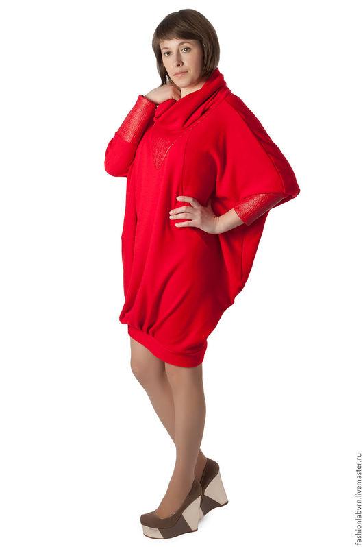 """Платья ручной работы. Ярмарка Мастеров - ручная работа. Купить Туника-платье """"Алая заря """" из кашемира и шерсти. Handmade."""