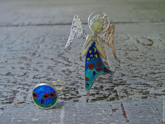 """Кулоны, подвески ручной работы. Ярмарка Мастеров - ручная работа. Купить Комплект брошь и кольцо """"Ангел сновидении"""". Handmade. Разноцветный"""