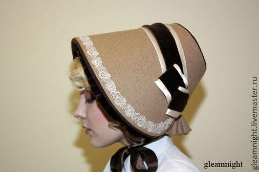 Шляпы ручной работы. Ярмарка Мастеров - ручная работа. Купить Теплый боннет Реконструкция Эксклюзив. Handmade. Бежевый, дамская шляпка