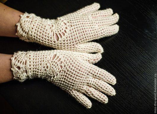 """Варежки, митенки, перчатки ручной работы. Ярмарка Мастеров - ручная работа. Купить ажурные перчатки """"Мирабель"""". Handmade. Белый"""