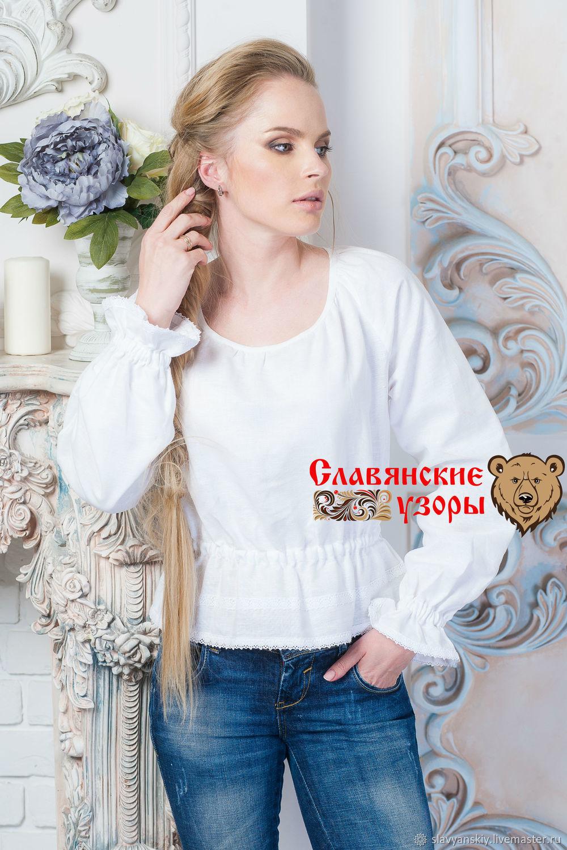 a597cdc5491 Blouses handmade. Livemaster - handmade. Buy Blouse classic linen   Slavyanka  white.