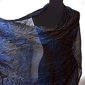 Аксессуары handmade. Livemaster - original item Silk scarf stole blue with brown silk accessory gift. Handmade.