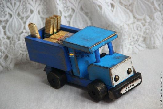 """Персональные подарки ручной работы. Ярмарка Мастеров - ручная работа. Купить Именной грузовик """"ГАЗ"""" для подарков. Handmade. Голубой, водителю"""