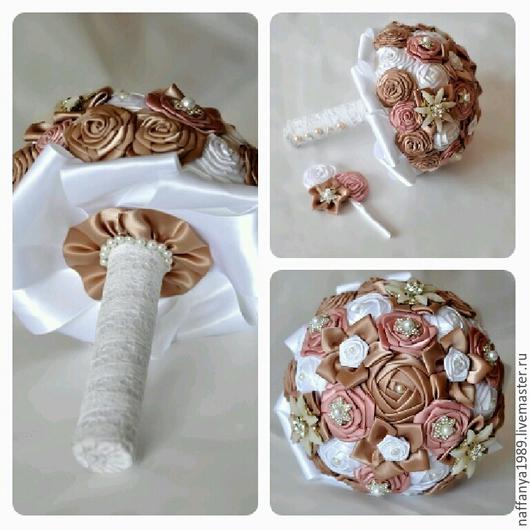 Свадебные цветы ручной работы. Ярмарка Мастеров - ручная работа. Купить Брошь букет из лент. Handmade. Бежевый, брошь-букет