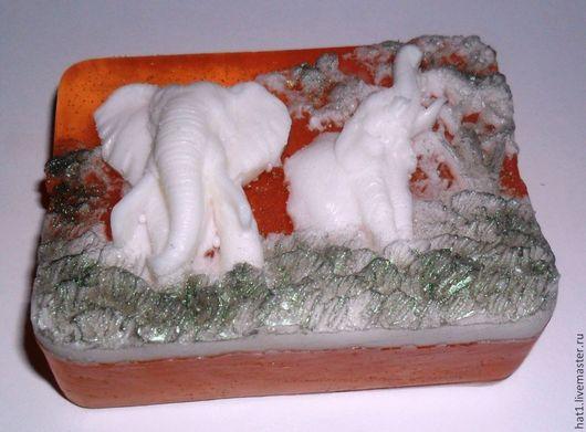Персональные подарки ручной работы. Ярмарка Мастеров - ручная работа. Купить Слоны. Мыло ручной работы.. Handmade. Оранжевый
