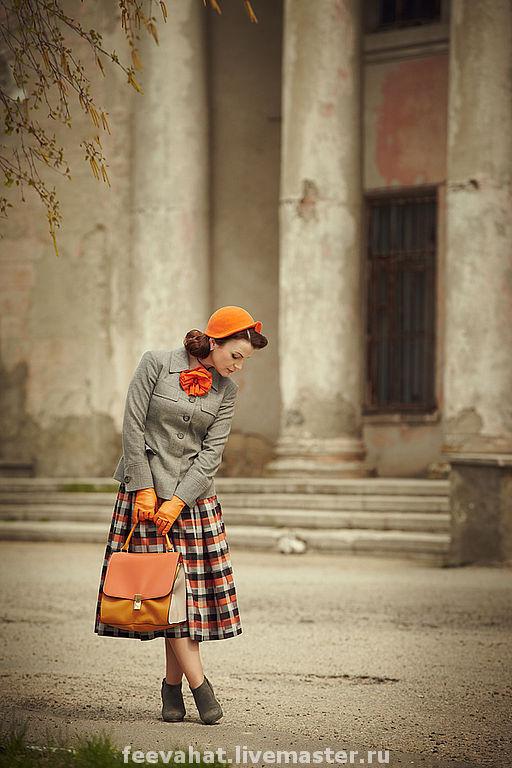 Шляпы ручной работы. Ярмарка Мастеров - ручная работа. Купить шляпа ретро оранжевая. Handmade. Шляпа, оранжевый, оранжевая сумка
