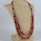 Украшения handmade. Livemaster - original item Necklace of coral and rhodonite multi-row