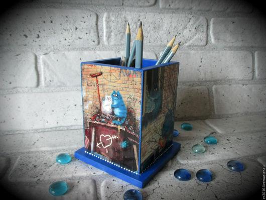 Карандашницы ручной работы. Ярмарка Мастеров - ручная работа. Купить Синие коты) Позитивная карандашница). Handmade. Синий, подарок девушке