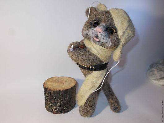 Куклы и игрушки ручной работы. Ярмарка Мастеров - ручная работа. Купить Кот охотник. Handmade. Подарок на любой случай, серый