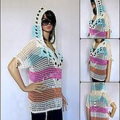 Одежда ручной работы. Ярмарка Мастеров - ручная работа Туника-сетка с капюшоном, летняя вязаная кофта с коротким рукавом. Handmade.