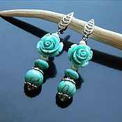 Earrings handmade. Livemaster - original item turquoise.