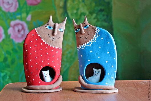 """Игрушки животные, ручной работы. Ярмарка Мастеров - ручная работа. Купить """"Мамочки"""". Handmade. Ярко-красный, кот, кошка, котенок"""
