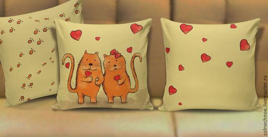 """Текстиль, ковры ручной работы. Ярмарка Мастеров - ручная работа. Купить Подушка """"Счастливые влюбленные"""". Handmade. Подарок, коты, любовь"""