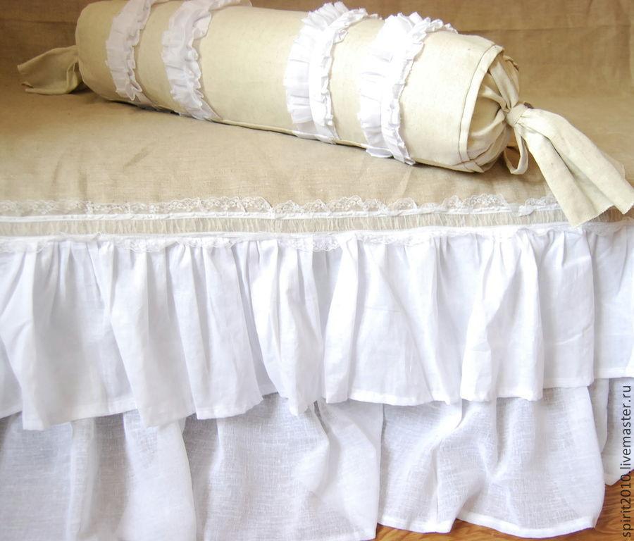 Купить Валик и покрывало в рустикальном стиле - белый, покрывало, подушка валик, бохо, рустикальный стиль