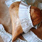 Материалы для творчества ручной работы. Ярмарка Мастеров - ручная работа Рюша Белая с мятными полосами (Италия) 100% хлопок. Handmade.