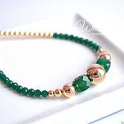 Украшения handmade. Livemaster - original item Necklace with green onyx and gold. Handmade.