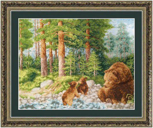Животные ручной работы. Ярмарка Мастеров - ручная работа. Купить Медведи. Handmade. Зеленый, картина, Вышивка крестом